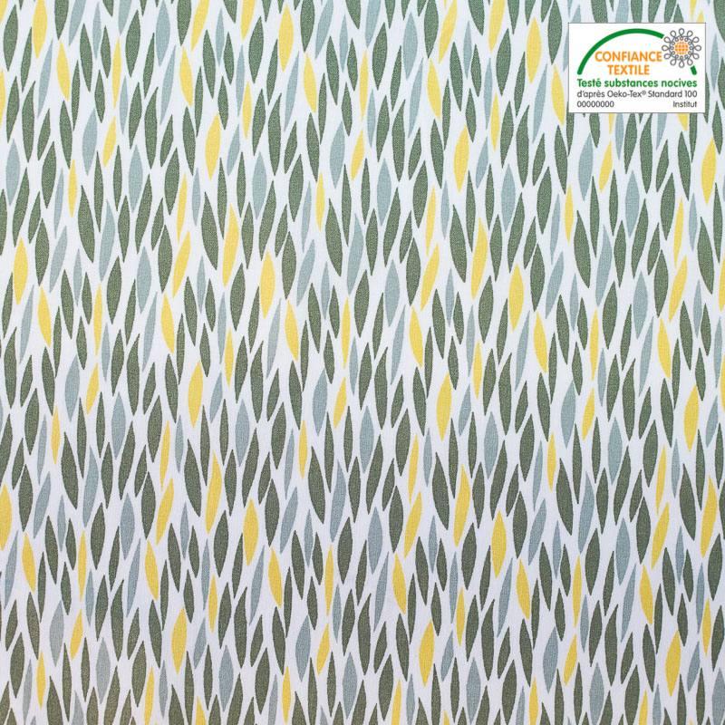 Coton blanc motif blé étiré jaunes et verts badi