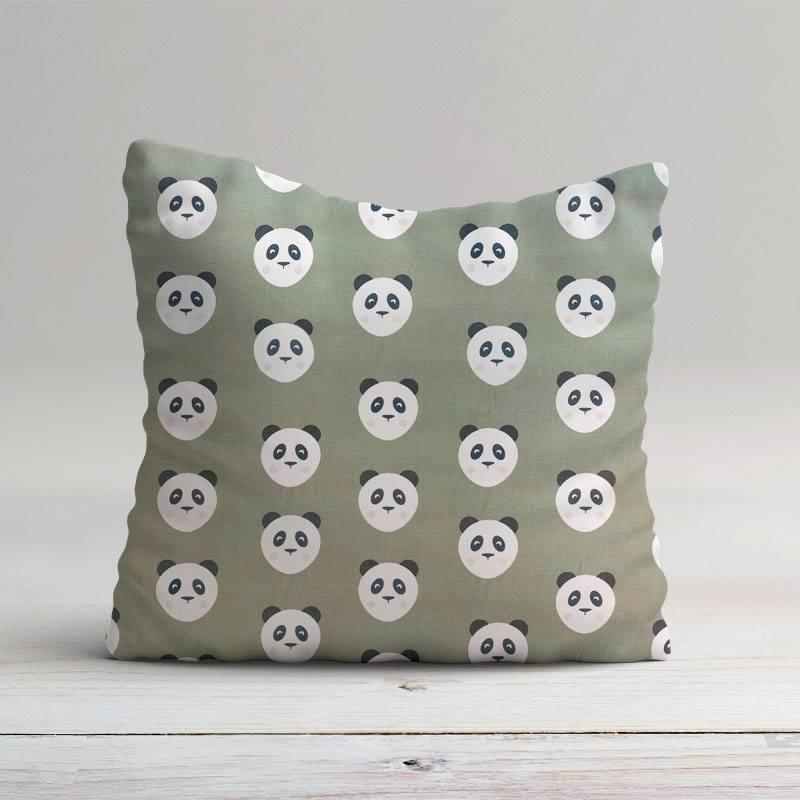 Coton kaki imprimé panda