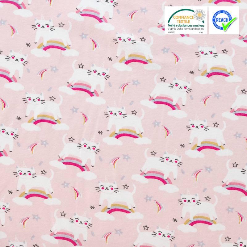 Licornes Sur Rose 100/% tissu de coton par la demi-mètre