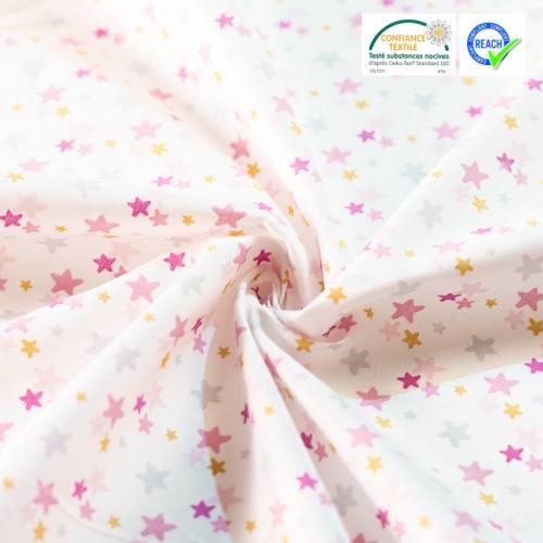 Coton blanc imprimé étoiles roses et ocre luxina
