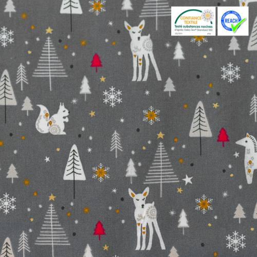 Coton gris imprimé forêt hivernale blanche rouge et or nojka