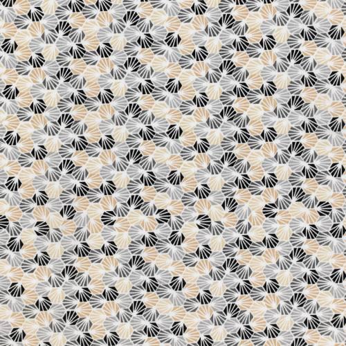 coupon - Coupon 82cm - Coton blanc imprimé alvéole gris et beige