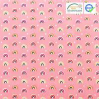 Coton rose imprimé demi-cercle ocre et rose arcol