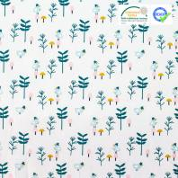 Coton blanc motif petit oiseau à chapeau bleu canard zizo