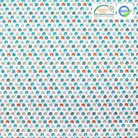 Coton blanc imprimé pont bleu et rouge brique