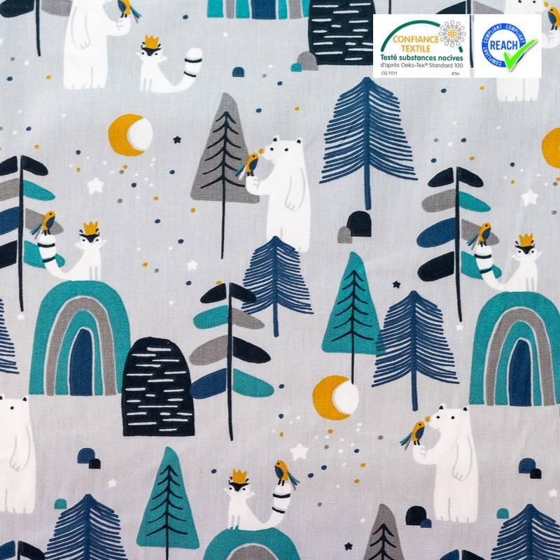 Coton gris imprimé arbres et ours bleus ocre et blancs primoon