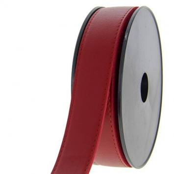 Bobine de 6 mètres sangle simili cuir rouge bordeaux 30 mm