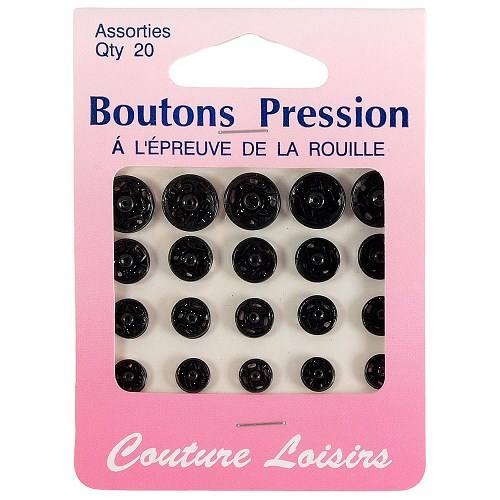 Boutons pression assortis noirs X20