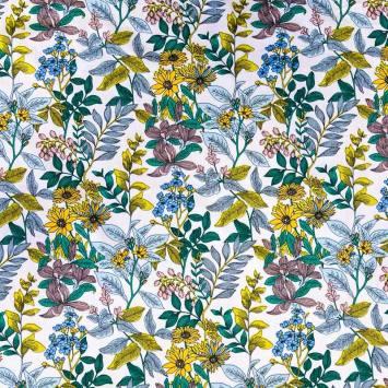 Coton blanc imprimé marguerites jaunes et feuillage bleu vert jaune