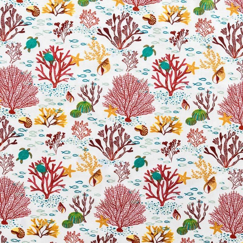 Coton blanc imprimé faune et flore marine rouge