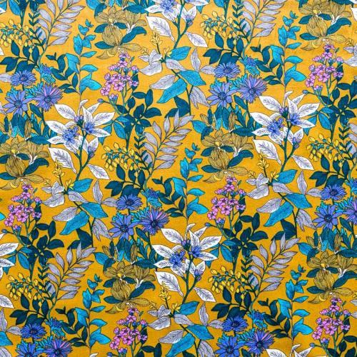 Coton moutarde imprimé floral