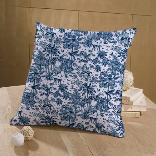 Coton blanc motif savane bleu marine
