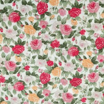 Coton grège imprimé de roses blanches jaunes et roses