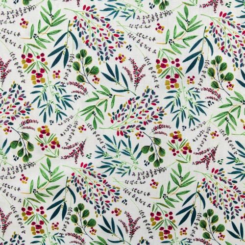 Coton écru motif branches et feuilles vertes ocre et roses