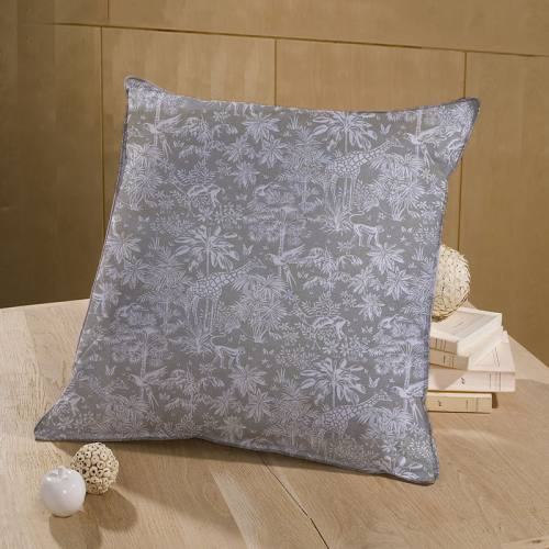 Coton grège motif savane blanche