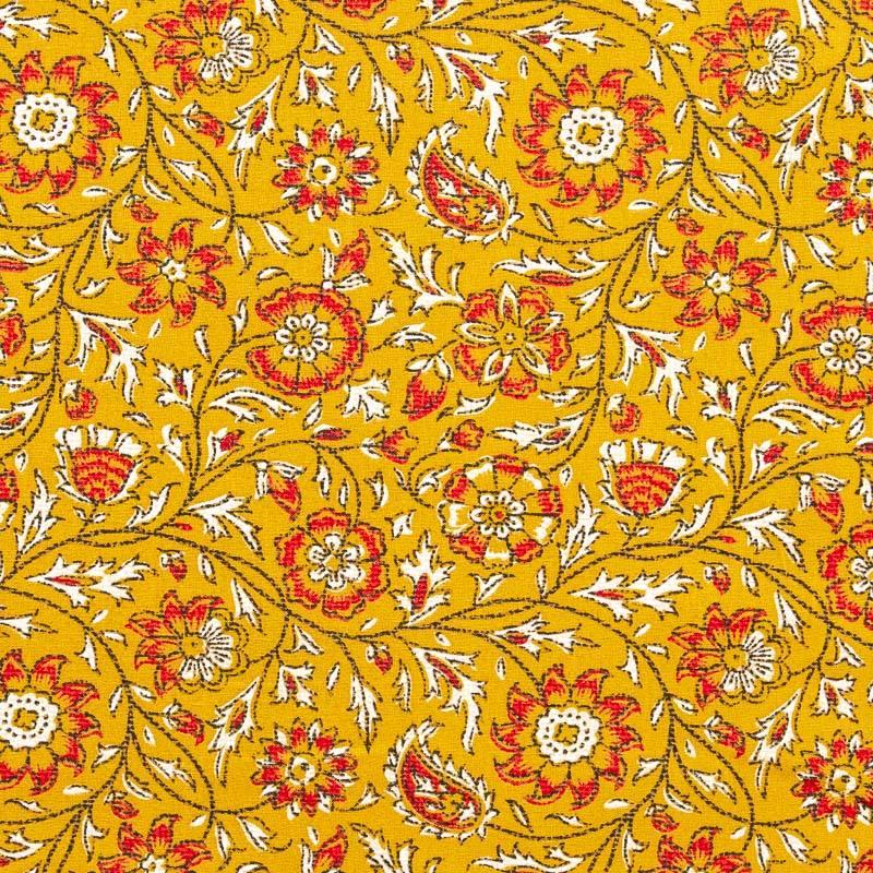 Coton curry imprimé floral rouge