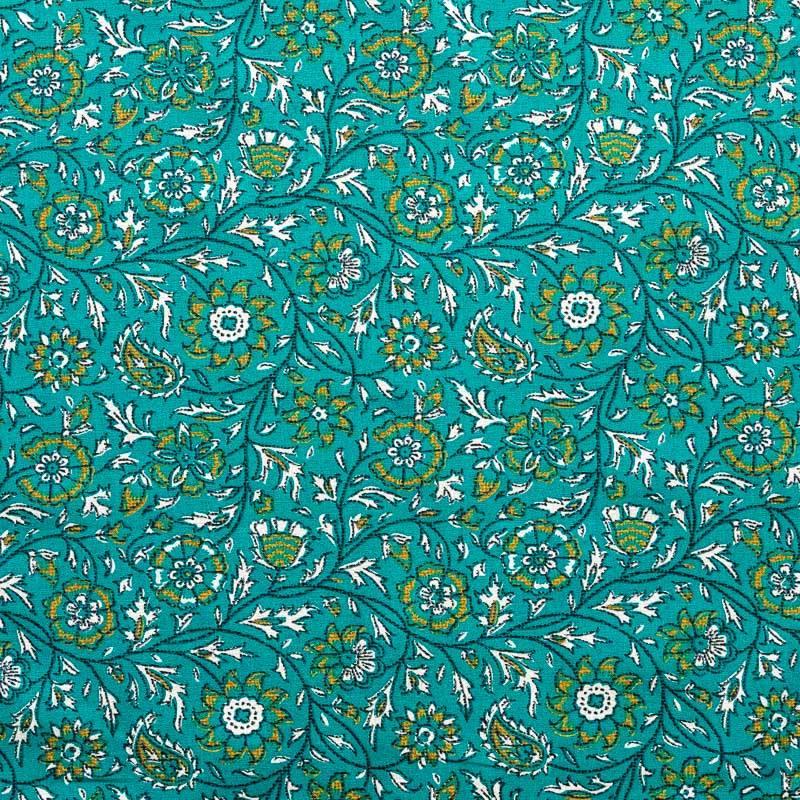 Coton bleu canard imprimé fleurs et feuilles style cachemire ocre