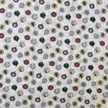 Coton de Noël blanc imprimé boule de noël grise et dorée