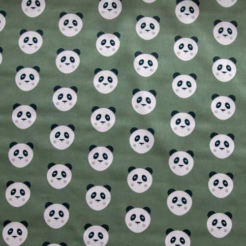 Coton kaki motif panda maotey - DOUBLON