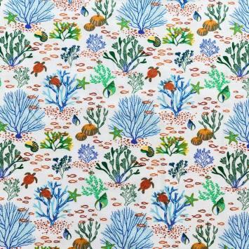 Coton blanc imprimé faune et flore marine vert