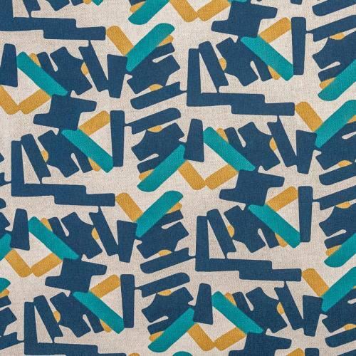 Toile coton beige aspect lin motif bleu et ocre