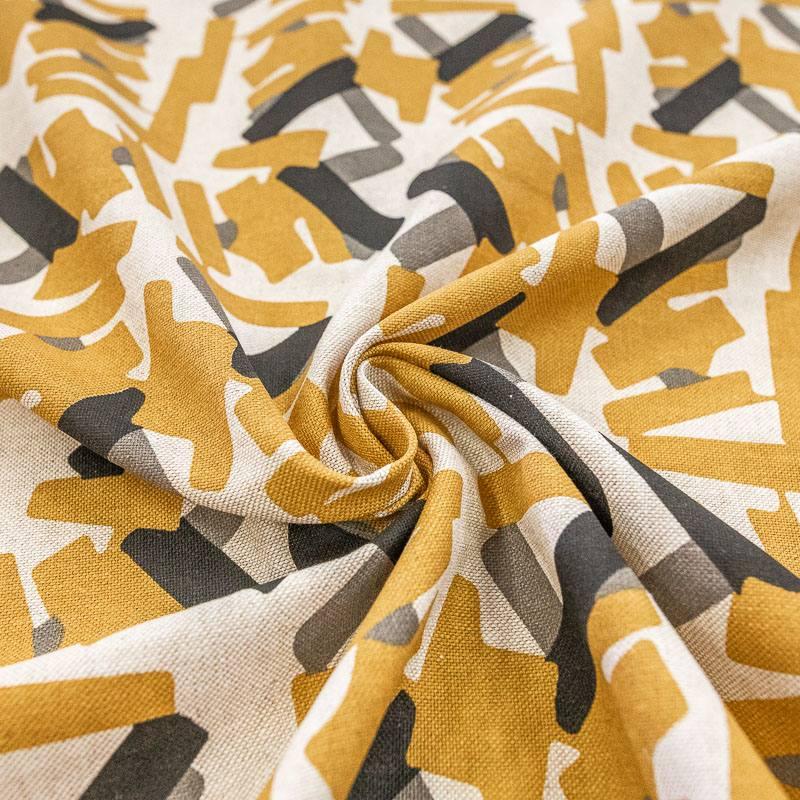Toile coton beige aspect lin motif ocre et noir