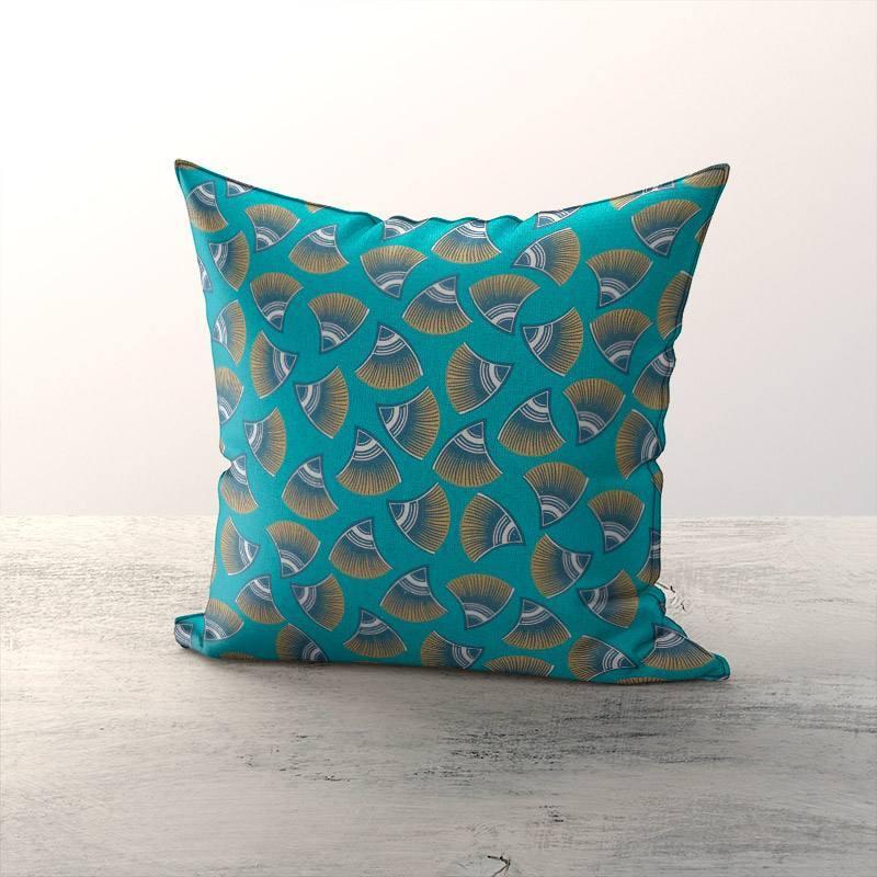 Toile coton bleue verte aspect lin motif look ocre