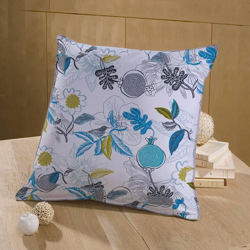 Toile coton blanche imprimée divalli bleu