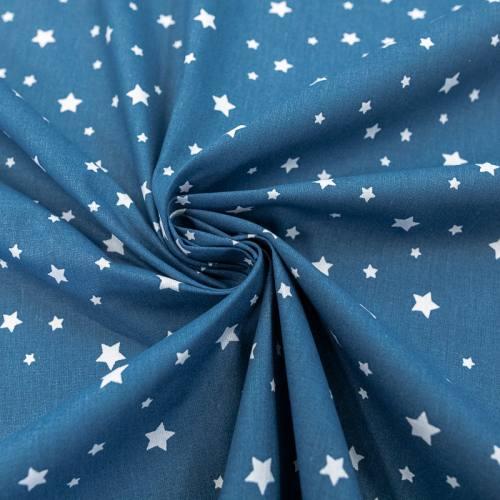 Coton bleu nuit motif étoiles blanches