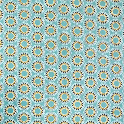 Coton enduit bleu givré motif malawa ocre et bleu marine