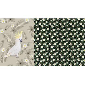 Coupon jersey impression numérique perroquet beige et fleur sur fond vert
