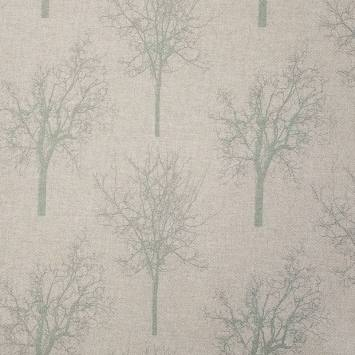 Toile polycoton beige imprimée arbre vert