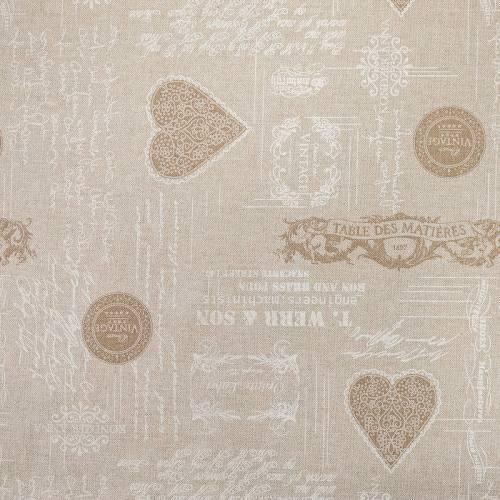 Toile polycoton beige imprimée vintage