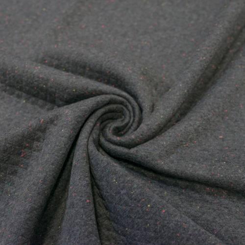 Jersey matelassé gris anthracite chiné multicolore