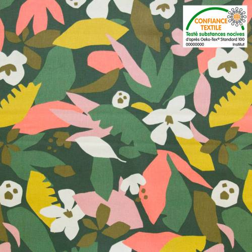 Toile coton kaki motif géo jungle vert et jaune
