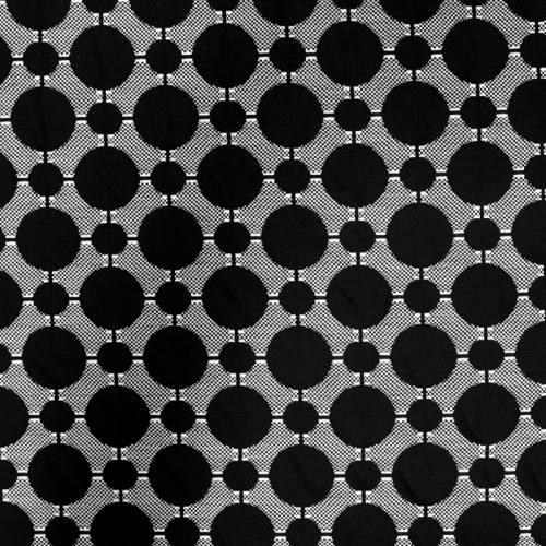 Jersey jacquard blanc motifs ronds noirs