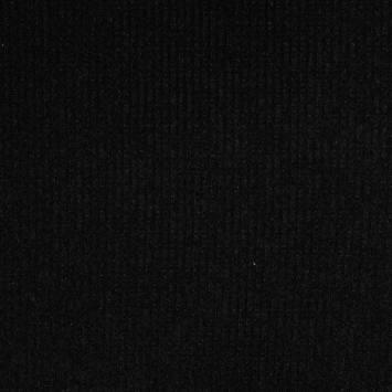 Tissu jersey maille côtelée noire pailletée