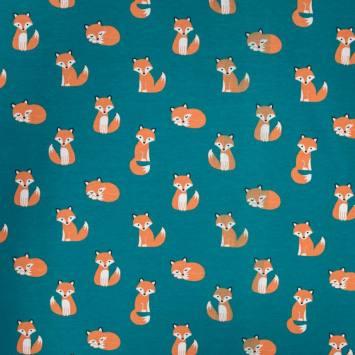 Jersey bleu vert motif renard