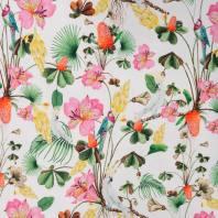 Jersey blanc motif fleurs et oiseaux colorés