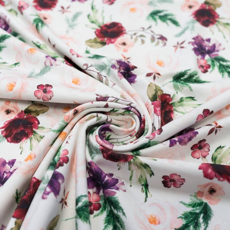 Jersey blanc motif christmas fleuri