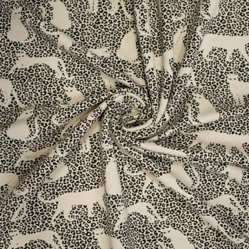 Jersey french terry crème imprimé léopard noir envers molleton