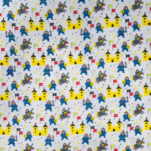Popeline de coton blanc motif chevalier