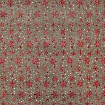 Toile aspect jute motif flocon de neige rouge brillant et pois blanc