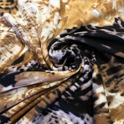 Jersey viscose écru imprimé léopard taupe