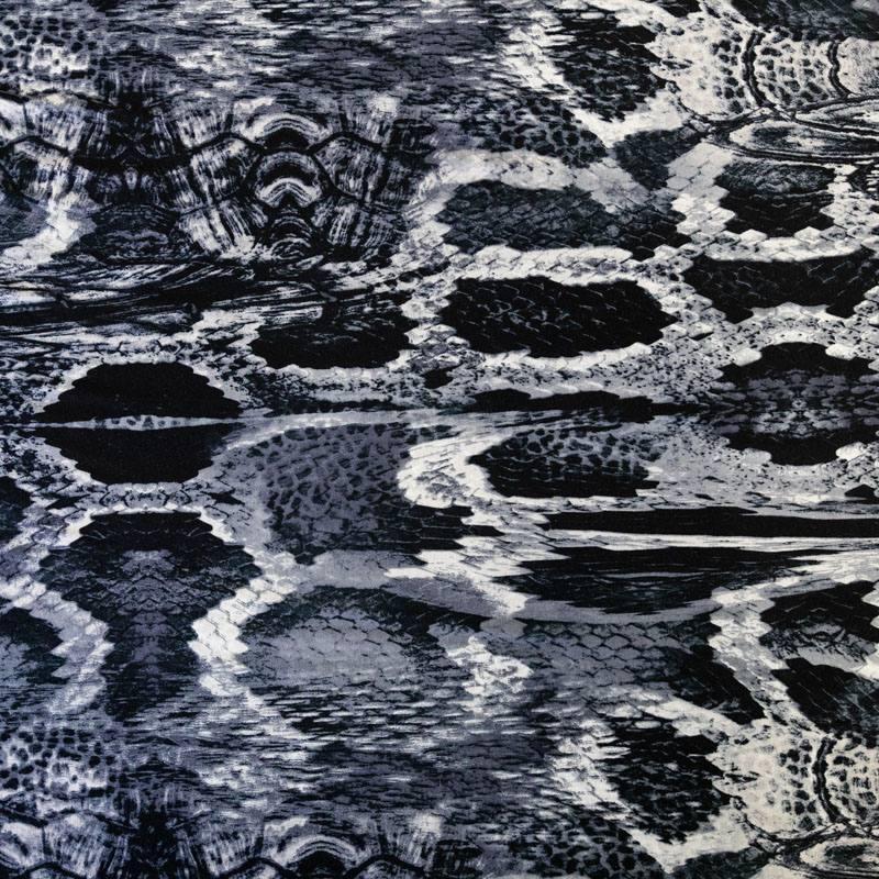 Jersey viscose écru motif peau de serpent gris bleu