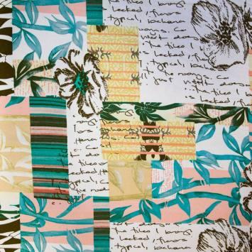 Jersey viscose écru motif plante bleu vert et saumon