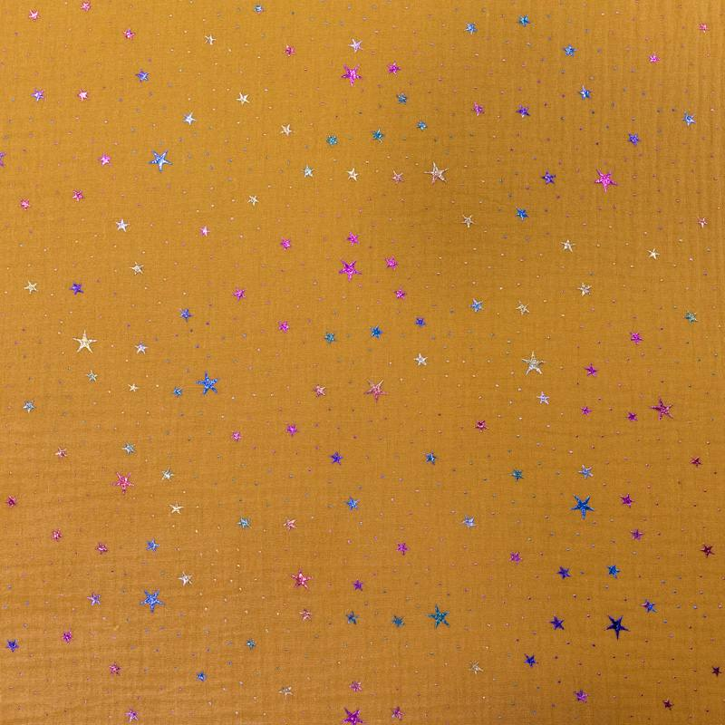 Double gaze ocre étoiles multicolores brillantes