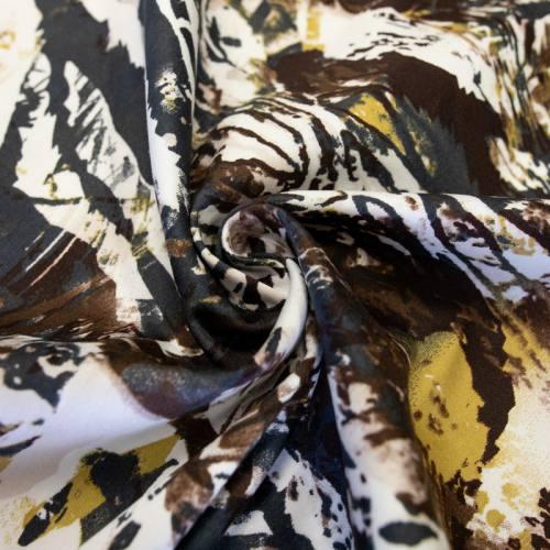 Gabardine de coton extensible écru imprimé marron et ocre