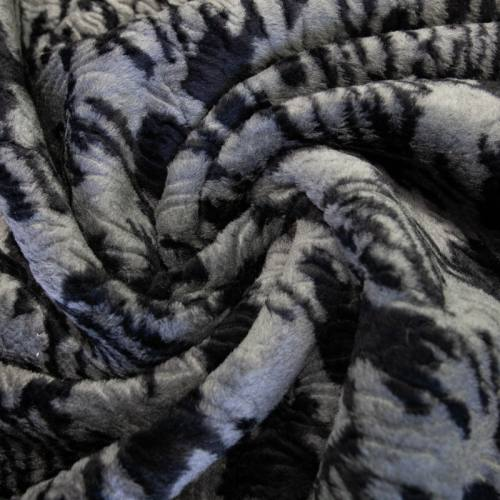 Fausse fourrure grise motif tâches noires