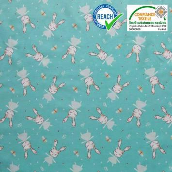 Coton vert d'eau motif lapin